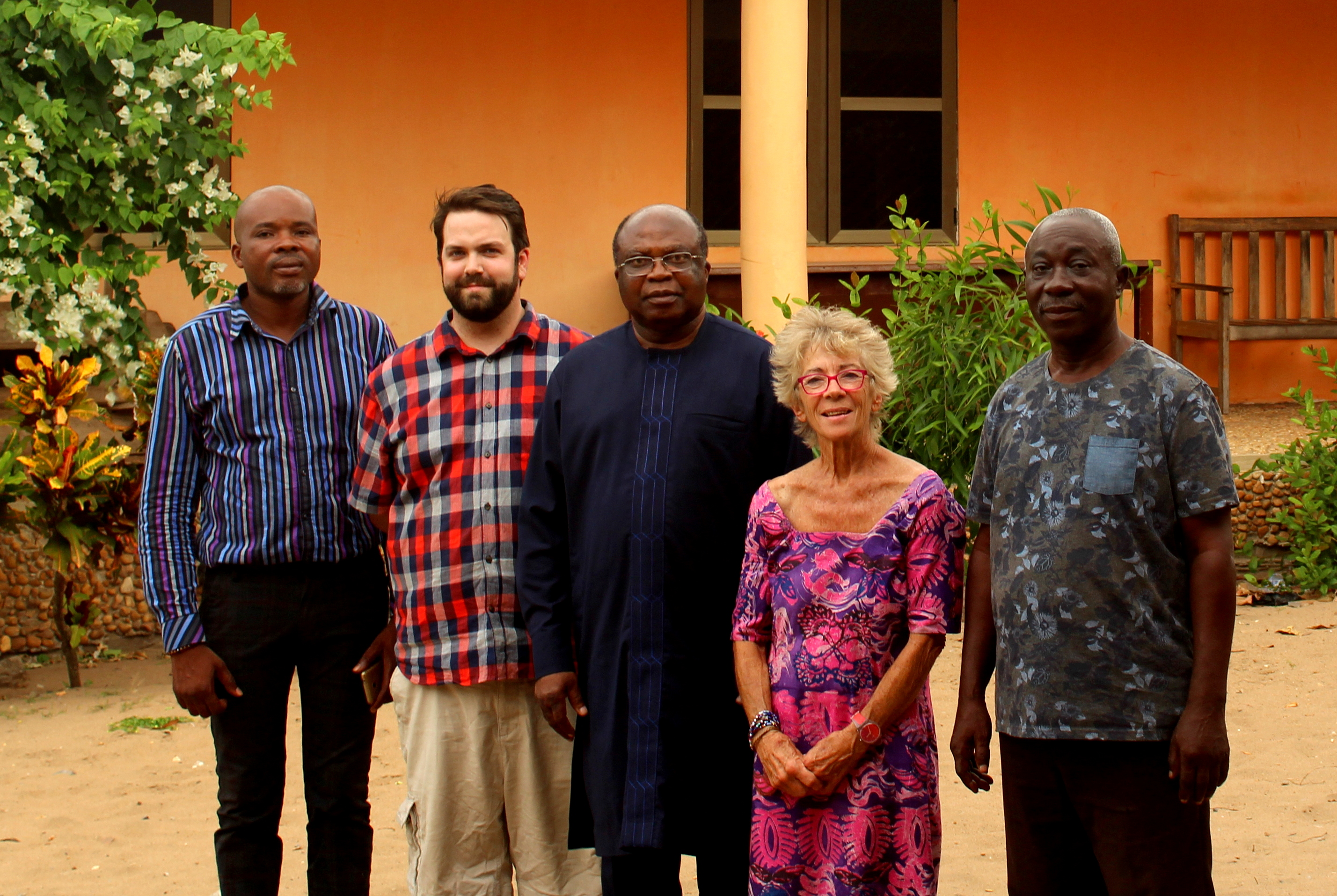 Parliamentary Assistant to local MP Kofi Humado; David Carter of RESCo Solar; local MP Kofi Humado; Peta Hall; Stanley Yeboah, AVTI Manager