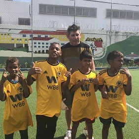 Garry Burke with some of the 'Wolves' players
