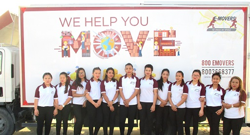 E-Movers' female packing team