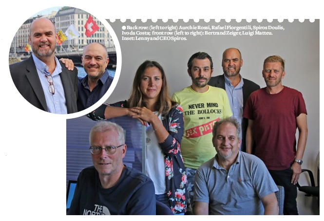 Back row: (left to right) Aurchie Rossi, Rafael Fiorgentili, Spiros Doulis, Ivo da Costa; front row (left to right): Bertrand Zeiger, Luigi Matteu. Inset: Lenny and CEO Spiros.