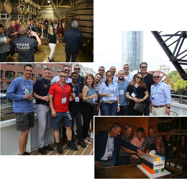PAIMA delegates on a boat trip up the Chicago River, Goose Islad Brewery, Cutting the cake