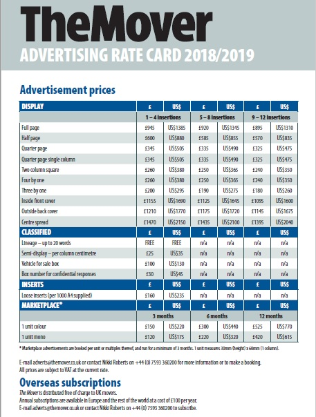The Mover advertising rate card 2018-2019