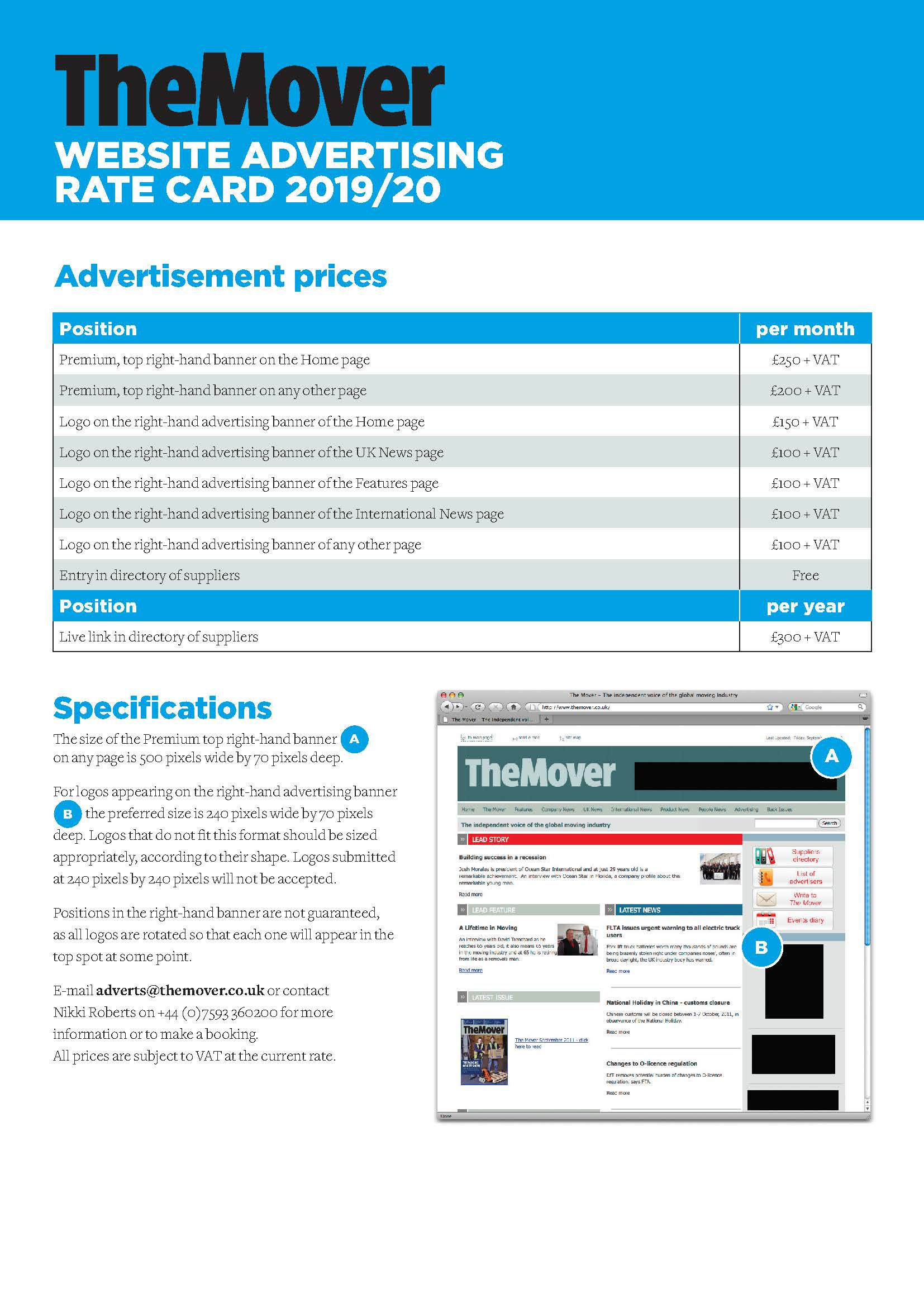 The Mover magazine website rate card 2019-20