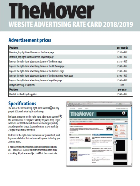 The Mover website advertising rate card 2018-2019